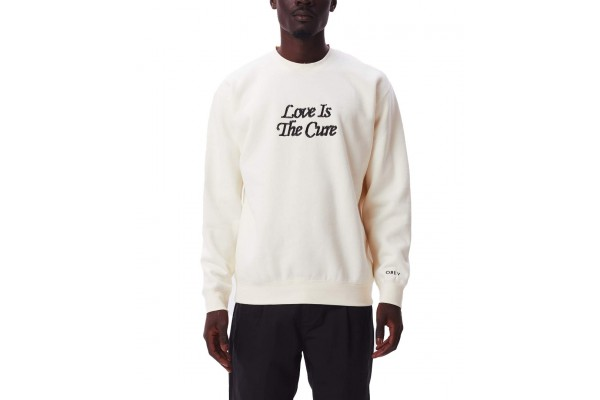 OBEY LOVE IS THE CURE CREW SPECIALTY FLEECE 112480102-UBL Εκρού