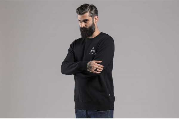 HUF ESSENTIALS TT CREW 714180083E PF00101-BLACK Μαύρο