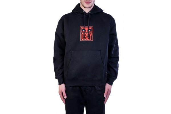 OBEY STACK HOOD FLEECE 112470103-BLK Black