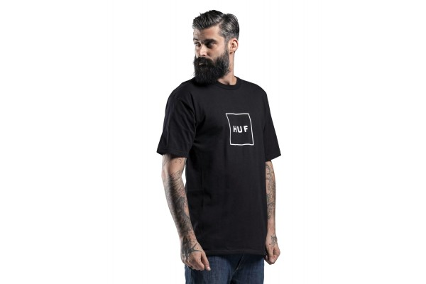 HUF ESSENTIALS BOX LOGO S/S TEE 714180086E TS00507-BLACK Μαύρο