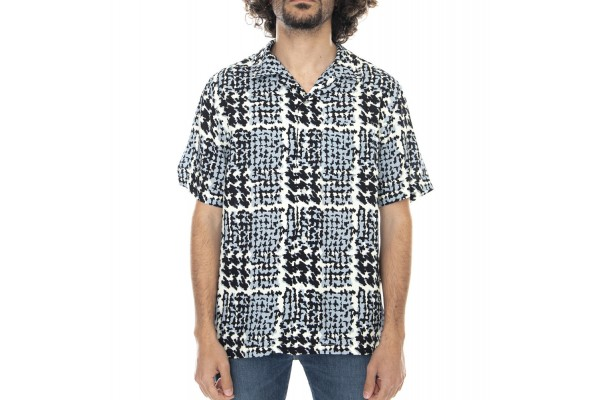 STUSSY HAND DRAWN HOUNDSTOOTH SHIRT 1110150-OFF WHITE Λευκό-Μαυρο