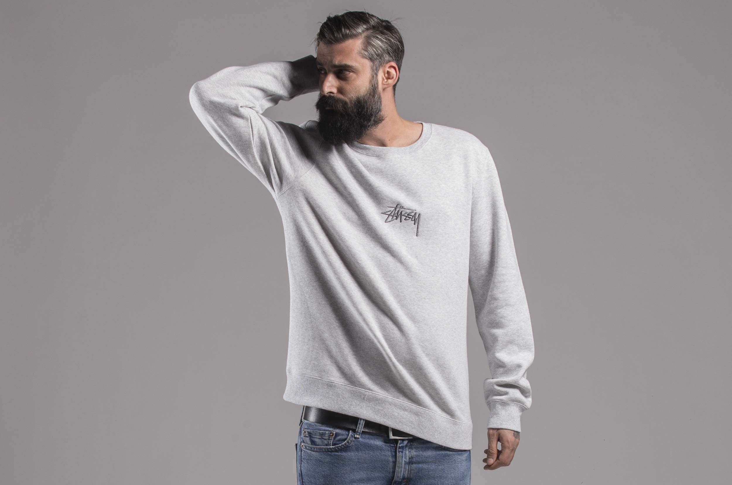 STUSSY STOCK APP. CREW 118294-GREY HEATHER Γκρί ... f42fc435652