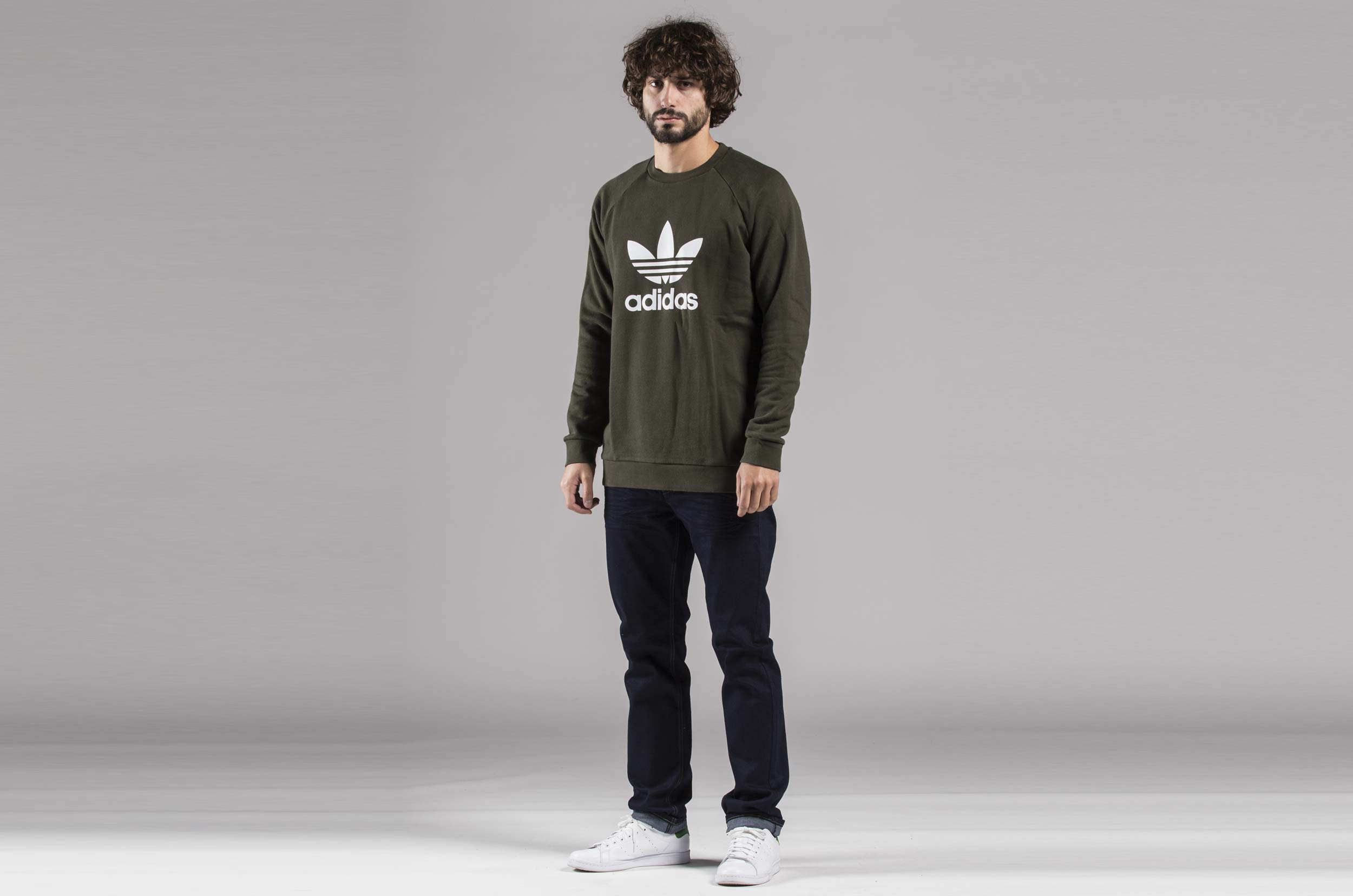 ... adidas Originals TREFOIL CREW DM7834 Χακί 09efd26f357
