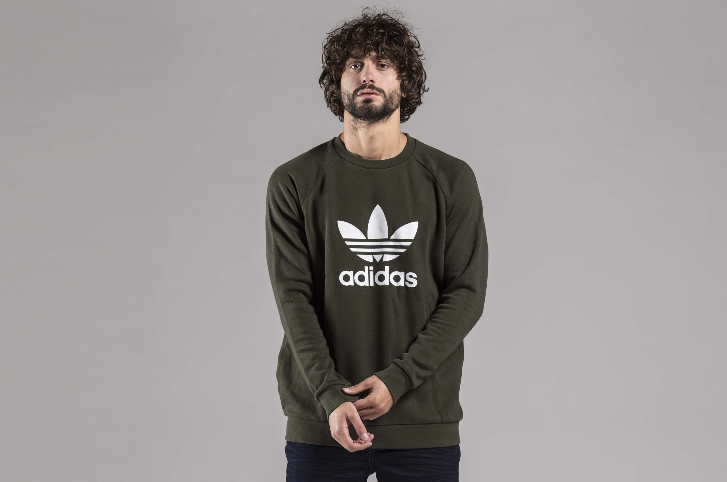 adidas Originals TREFOIL CREW DM7834 Χακί ... 440e42b2ce9