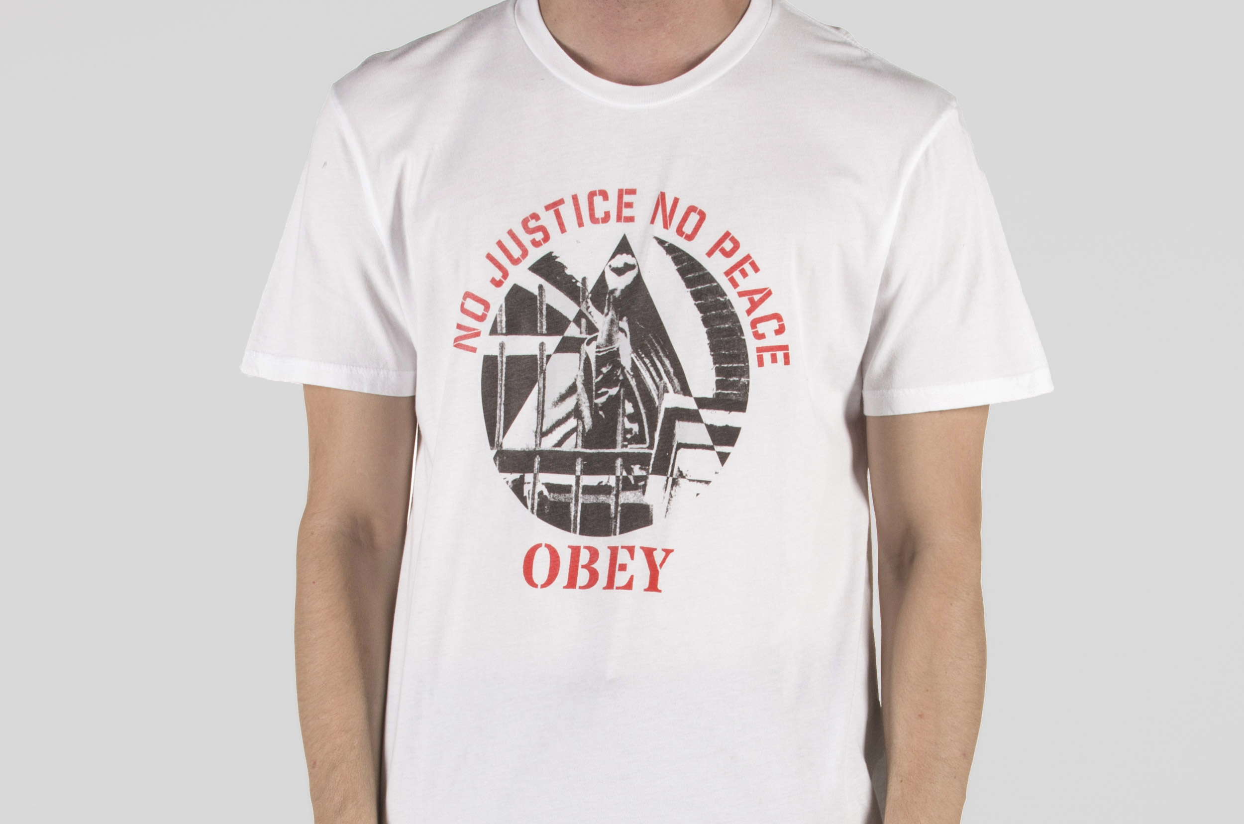 OBEY NO JUSTICE NO PEACE FIST SUPERIOR TEE 221190012-WHITE Λευκό